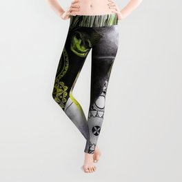 Burnt By The Sun (street art woman portrait with mandalas) Leggings