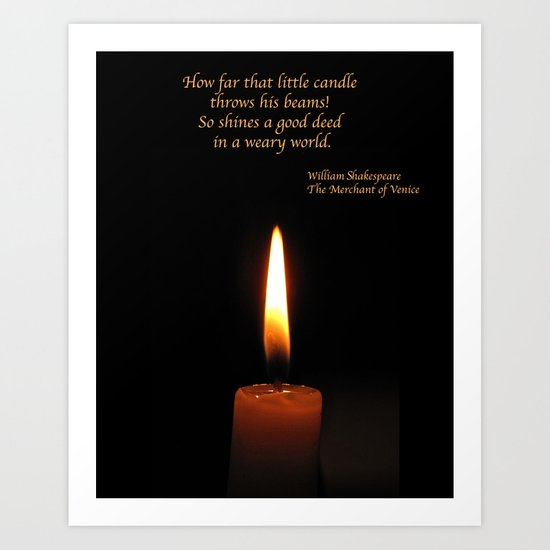 Shakespeare Candle Flame Art Print