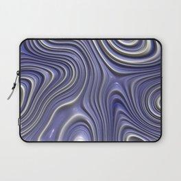 Light Pastel Violet Purple White Faux Liquid Plastic 3D Swirl Waves Pattern Laptop Sleeve