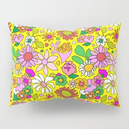 60's Lovers Floral in Sunshine Yellow Pillow Sham