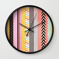 tape Wall Clocks featuring Washi Tape by Louise Machado
