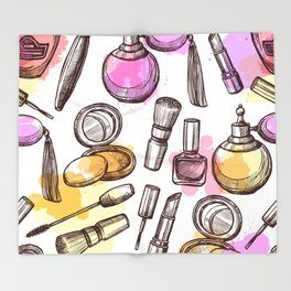 Modern Makeup Pattern Art Throw Blanket