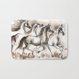 Arabian horses ink painting Bath Mat