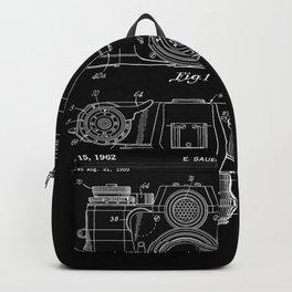 Vintage Camera Patent Black Blueprint Backpack