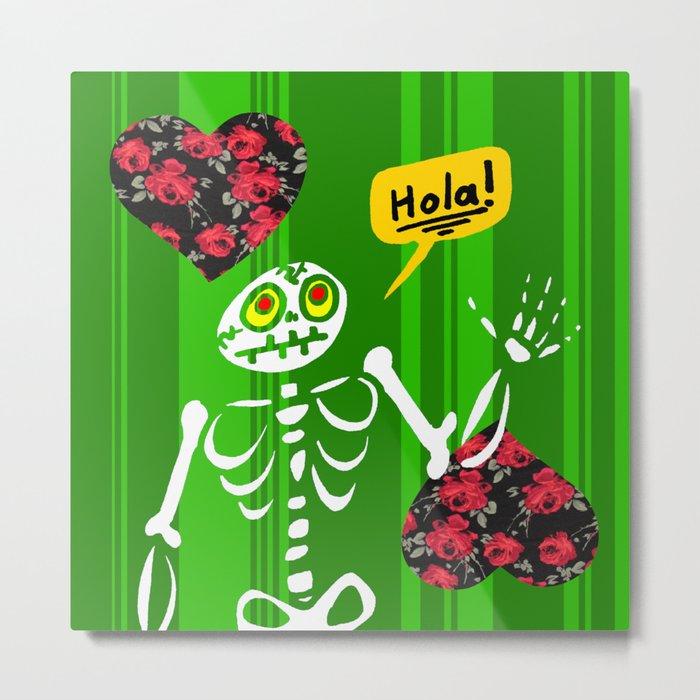 Hello Skeleton Metal Print