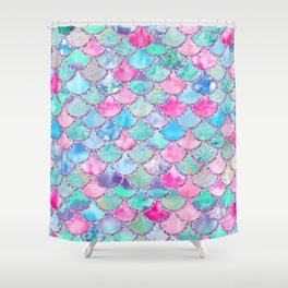 Colorful Pink and Blue Watercolor Trendy Glitter Mermaid Scales Shower Curtain