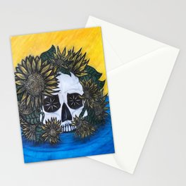Skull and Sunflowers Stationery Cards