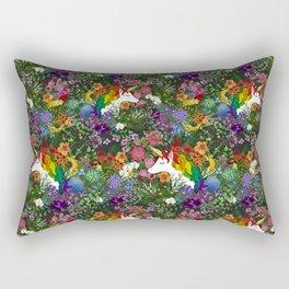 Unicorn in a Rainbow Garden Rectangular Pillow