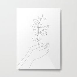 Minimal Hand Holding the Branch II Metal Print