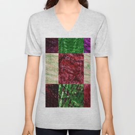 Patchwork color gradient and texture 2 Unisex V-Neck