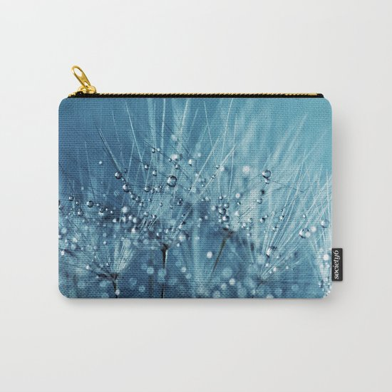 Drops sparkling on a Dandelion- Abstract blue close-up Carry-All Pouch