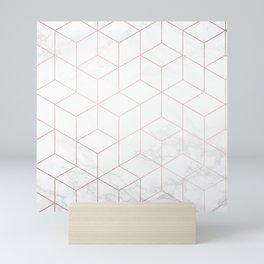 Rose Gold Geometric White Mable Cubes Mini Art Print