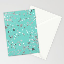 Turquoise Terrazzo Silver Marble Stationery Cards