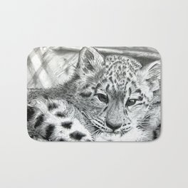 BABY SNOW LEOPARD by Dharmesh Mistry Bath Mat
