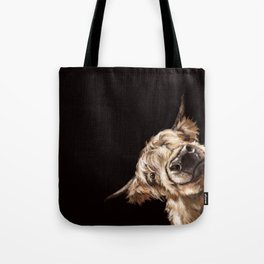 Sneaky Highland Cow in Black Tote Bag
