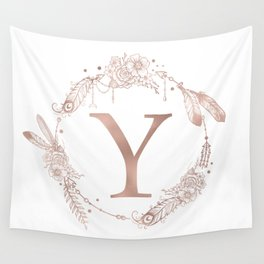 Letter Y Rose Gold Pink Initial Monogram Wall Tapestry