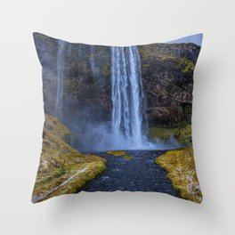 Seljalandsfoss Waterfall Iceland Throw Pillow
