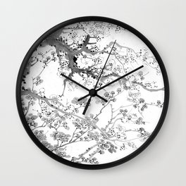 Plum Blossoms Black Wall Clock
