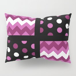 Black/Two-Tone Mulberry/White Chevron/Polkadot Pillow Sham