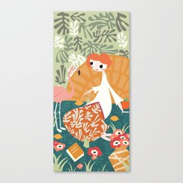 Girl with flamingo and Henri Matisse inspired decoration, vector illustration Canvas Print