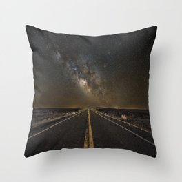 Go Beyond - Road Leads Into Milky Way Galaxy Throw Pillow