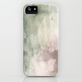 Abstract blush pink green white watercolor brushstrokes iPhone Case
