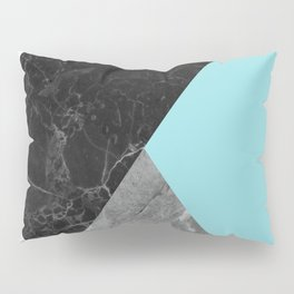 Black and White Marbles and Pantone Island Paradise Color Pillow Sham