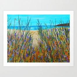 Beach flowers, impressionism ocean art, wildflowers on the beach Art Print