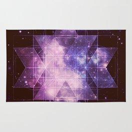 Galaxy Sacred Geometry: Purple Rhombic Hexecontahedron Rug