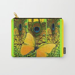 ART NOUVEAU YELLOW BUTTERFLY PEACOCK FEATHERS Carry-All Pouch