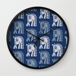 Mid Century Horse Pattern Blues Wall Clock