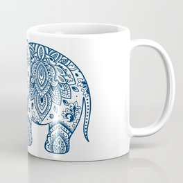 Blue Floral Paisley Cute Elephant Illustration Coffee Mug