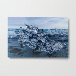 A Dragons Skull Made of Ice in Iceland Metal Print