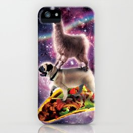 Rainbow Space Llama On Pug Riding Taco iPhone Case