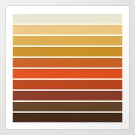 70s Stripes - 70s, retro, retro stripes, ombre, rust, orange, brown,  yellow Art Print