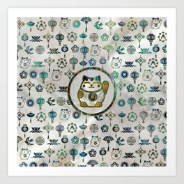 Maneki Neko Lucky cat on  pearl and abalone Art Print