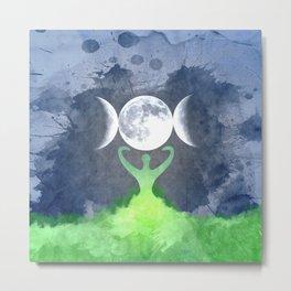 Mother Earth Goddess Moon Metal Print