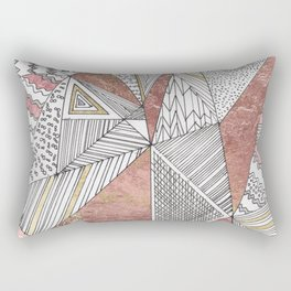 Geometrical hand painted faux rose gold black white abstract pattern Rectangular Pillow