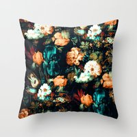 vintage floral Throw Pillows featuring Vintage Floral by Burcu Korkmazyurek