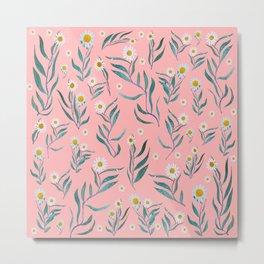 Pink white leaves Metal Print