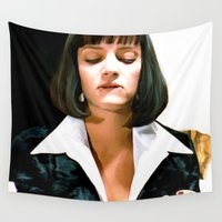 pulp fiction Wall Tapestries featuring Uma Thurman @ Pulp Fiction by Gabriel T Toro