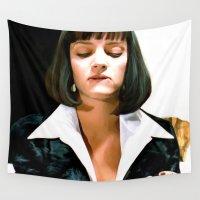 pulp Wall Tapestries featuring Uma Thurman @ Pulp Fiction by Gabriel T Toro