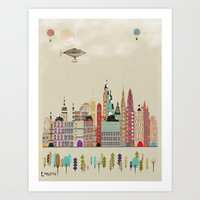 england Art Prints featuring visit london england by bri.buckley