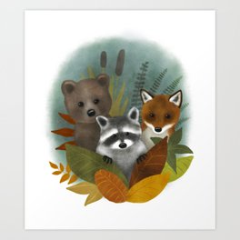 Furry forest friends Art Print