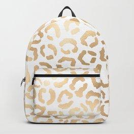 Elegant Gold White Leopard Cheetah Animal Print Backpack