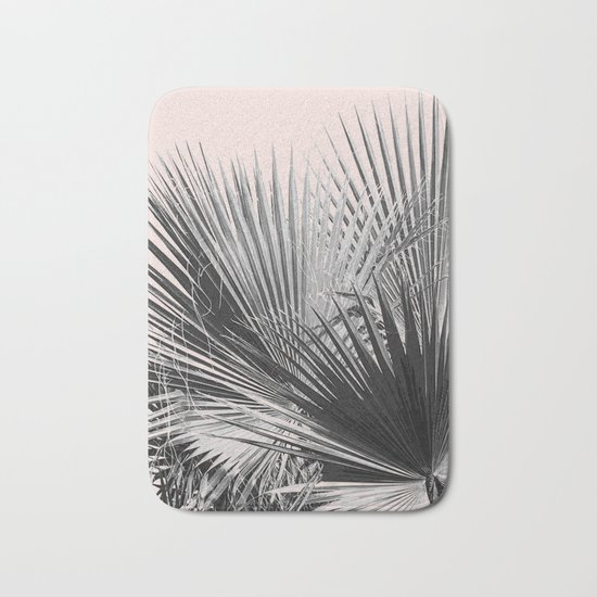 Palm leaves in pink Bath Mat