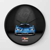 f1 Wall Clocks featuring 1995 McLaren F1 GTR Le Mans - Jacadi Livery by vsixdesign