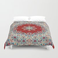 red Duvet Covers featuring Mandala Nada Brahma  by Elias Zacarias