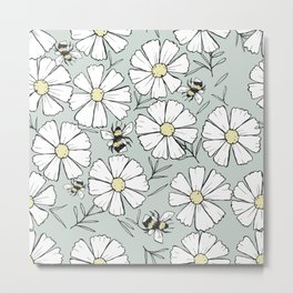 Bees and cosmos flowers Metal Print