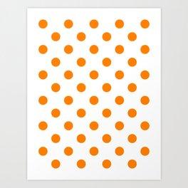 Polka Dots - Orange on White Art Print